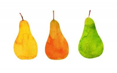 Наклейка желтый, оранжевый, зеленый, изолированных груши