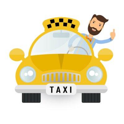 Наклейка желтое такси автомобиль - вектор икона