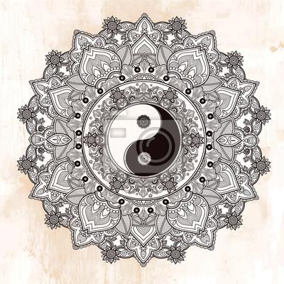 Наклейка Инь и Ян символ мандалы.