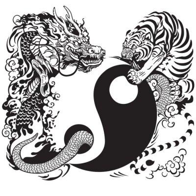 Наклейка инь янь с драконом и тигром
