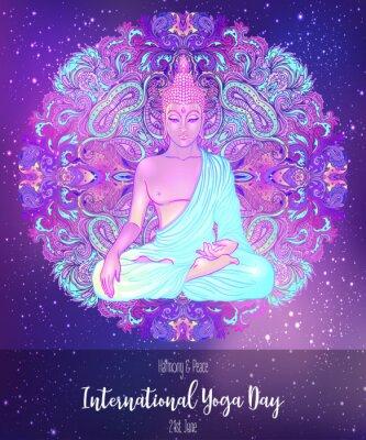 Наклейка Yoga card design. Colorful template for spiritual retreat or yoga studio. Ornamental business cards, oriental pattern. Vector illustration.