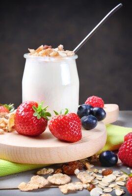 Наклейка Йогурт с мюсли и мягких фруктов