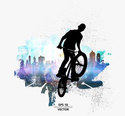 Наклейка Молодой мужской велосипед джемпер. Здоровый образ жизни.
