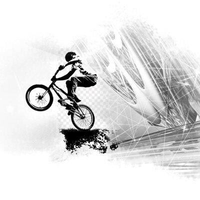 Наклейка Молодой мужской велосипед прыгун. Здоровый образ жизни.