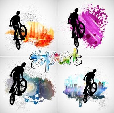 Наклейка Молодой мужской велосипед прыгун. Здоровый образ жизни