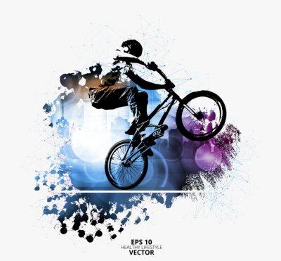 Наклейка Молодой мужской велосипед джемпер. Здоровый образ жизни. Вектор