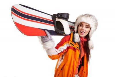 Наклейка Молодая женщина, стоя с сноуборд, изолированных на белом