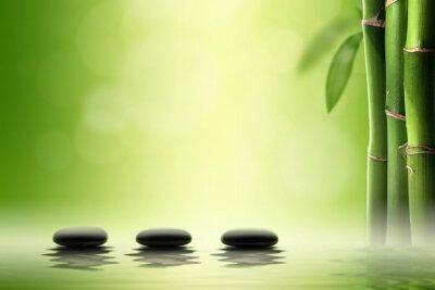 Наклейка Дзен концепции. Черные Спа камни в бамбуковом лесу.