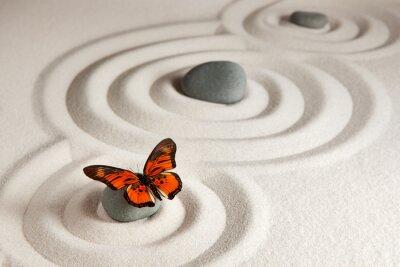 Наклейка Zen камни с бабочкой