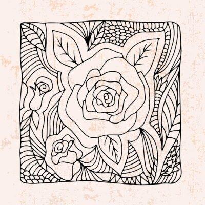 Наклейка Zentangle с розами и листьями