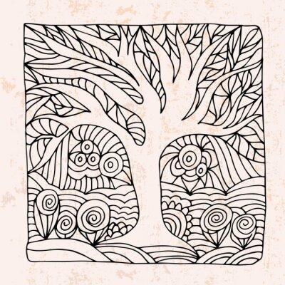 Наклейка Zentangle с дерева и цветами